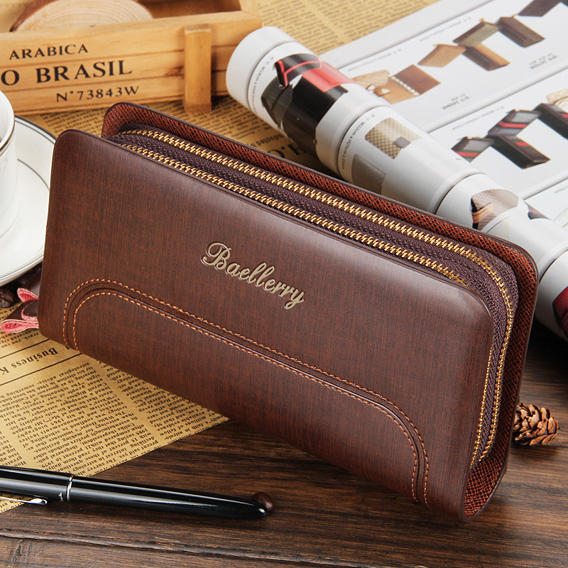 Hot Sale Leather Long Wallets Men Large Capacity Brand Business Wallets Purses Card Holder Clutch Bags Zipper Pocket Creative 2016 famous brand new men business brown black clutch wallets bags male real leather high capacity long wallet purses handy bags