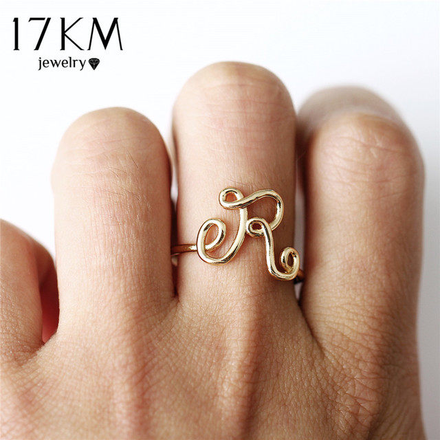 17KM Fashion Letter Rings For Women Simple Gold Silver Color Name Ring Female St