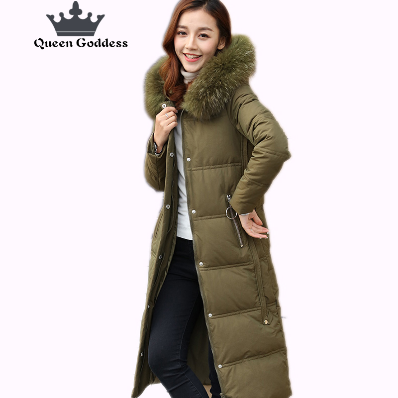2017 new fashion style warm parkas winter jacket womens duck downs coat special of large size and thickening hood over coat ups and downs