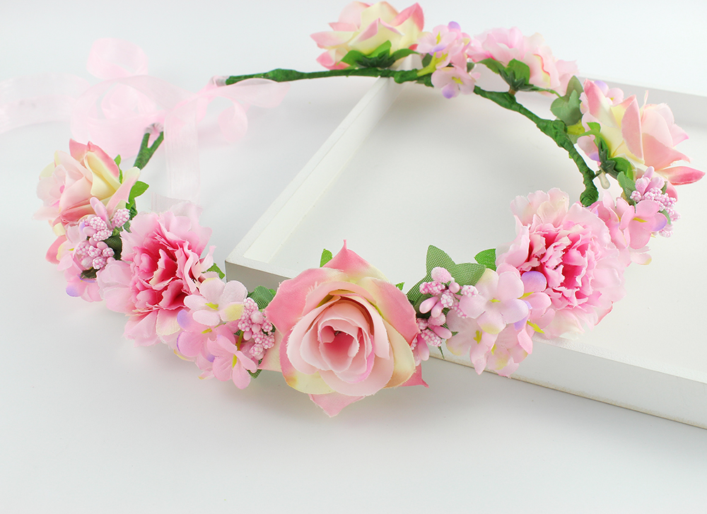 Light peach color Bouquet Flower Crown Hairband Tiara Wedding Party ...