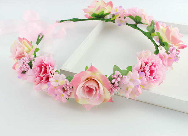 Light peach color Bouquet Flower Crown Hairband Tiara Wedding Party Hair  Accessories wedding hair accessories bridal Headpiece 86a56e09281