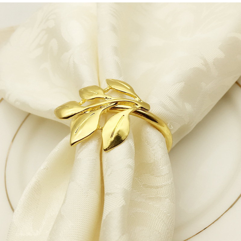 Fall Leaves Napkin Rings - Gold Silver Metal Napkin Holder Best Children's Lighting & Home Decor Online Store