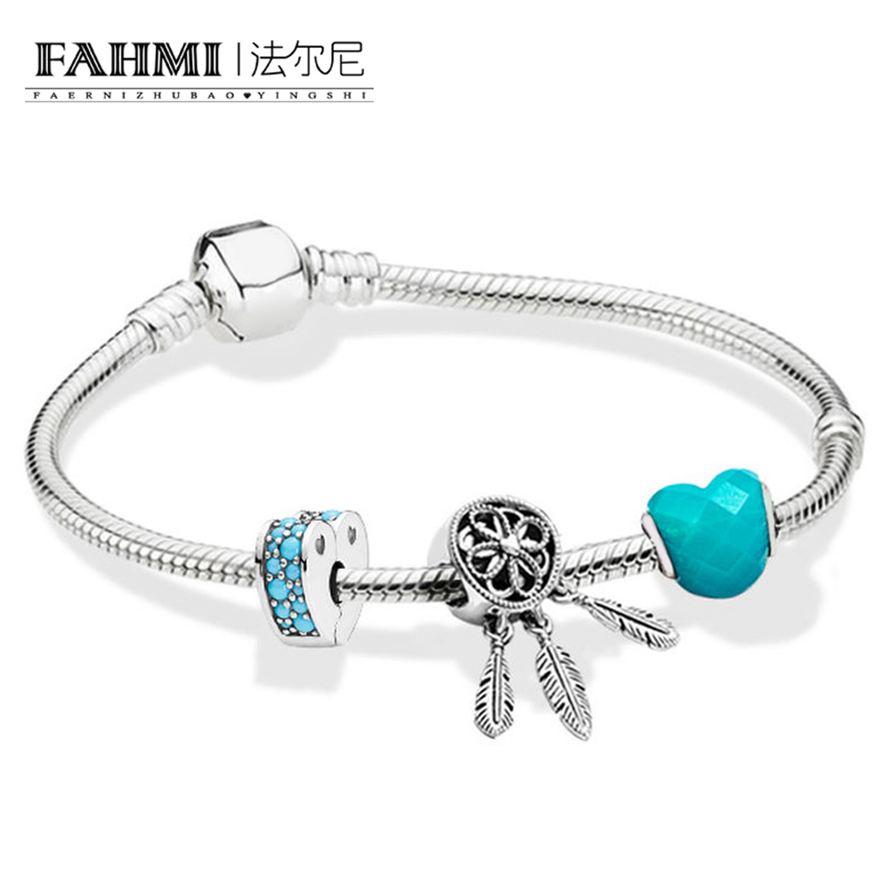 FAHMI 100% 925 Sterling Silver 1:1 ZT0124 Blue Dream Cool Summer Beaded BRACELET WITH CLASP Gift High Quality  SetFAHMI 100% 925 Sterling Silver 1:1 ZT0124 Blue Dream Cool Summer Beaded BRACELET WITH CLASP Gift High Quality  Set