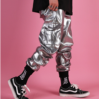 Men DJ Singer Pant Casual Leather Harem Pant Male Streetwear Hip Hop Punk Silver Multi Pocket Cargo Trouser Stage Clothes