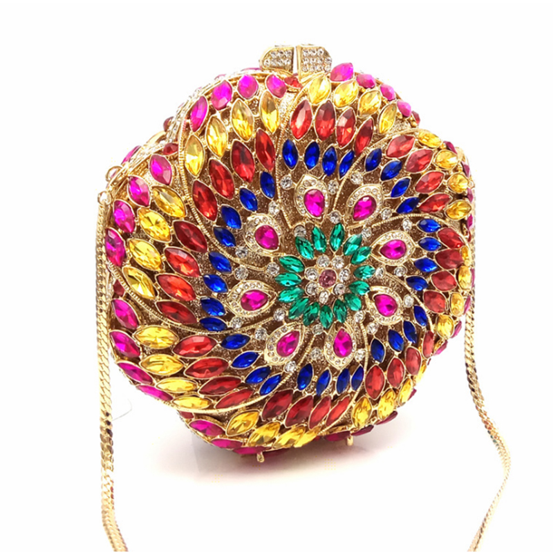 Soirée Mode La De Nouvelle Arrivée 2018 Marque Femmes Embrayages Sac Plein Colorful À Xiyuan fin Haute silver Circulaire Main Sacs D'embrayage gold Cristal w4awSzIqx