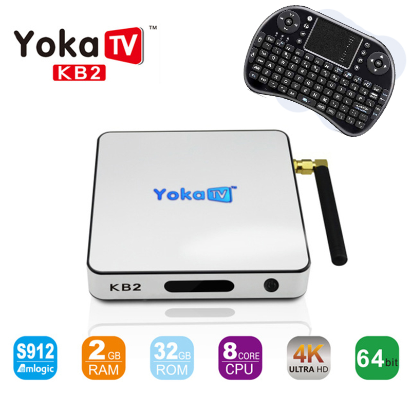 KB2 Android TV Box 2GB RAM 32GB ROM Amlogic S912 Octa Core Android 6.0 TV Box 2.4G/5GHz Dual WiFi 1000M LAN Tv set top Box