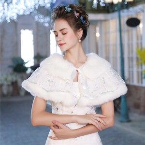 Image 3 - Mode Vrouwen Warm Wrap Faux Fur Korte Cape Bridal Wedding Bruidsmeisjes Cover Up Winter Jas Lace Up Schouderophalen Handgemaakte