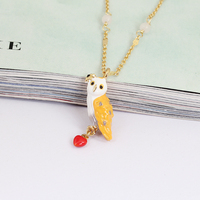 France JUICY GRAPE New Pattern Enamel Snow Owl Diamond Glaze Red Heart Owl Necklace Clavicle Plated