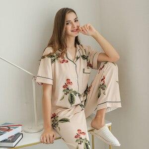 Image 1 - Cotton Sleepwear Women Fashion Pajamas Set for Female Plus Size Pajamas Flower Print Sleepwear Kit Short Sleeve Nightwear L 4XL