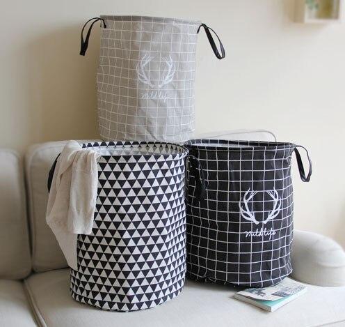 Stackable Laundry Baskets Interesting Handle Stackable Cotton Linen Storage Barrel Laundry Basket