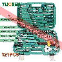 цена на 121PCS in 1 mechanic hand ratchet tool sets auto socket wrench tools set mini repair professional gereedschap kit for car