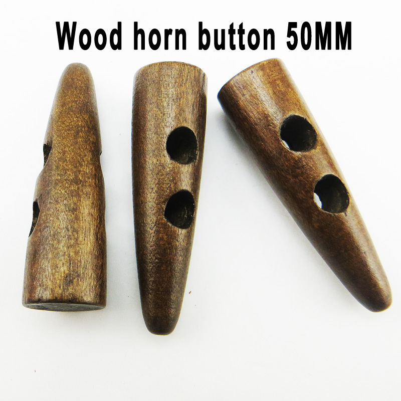 10PCS brown wooden horn <font><b>button</b></font> <font><b>50MM</b></font> toggle clothes sewing clothing accessory coat <font><b>buttons</b></font> WHB-089 image