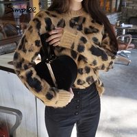 Simplee Sexy leopard knitted o neck pullover sweater female Autumn long sleeve women jumper Casual plus size sweater streetwear