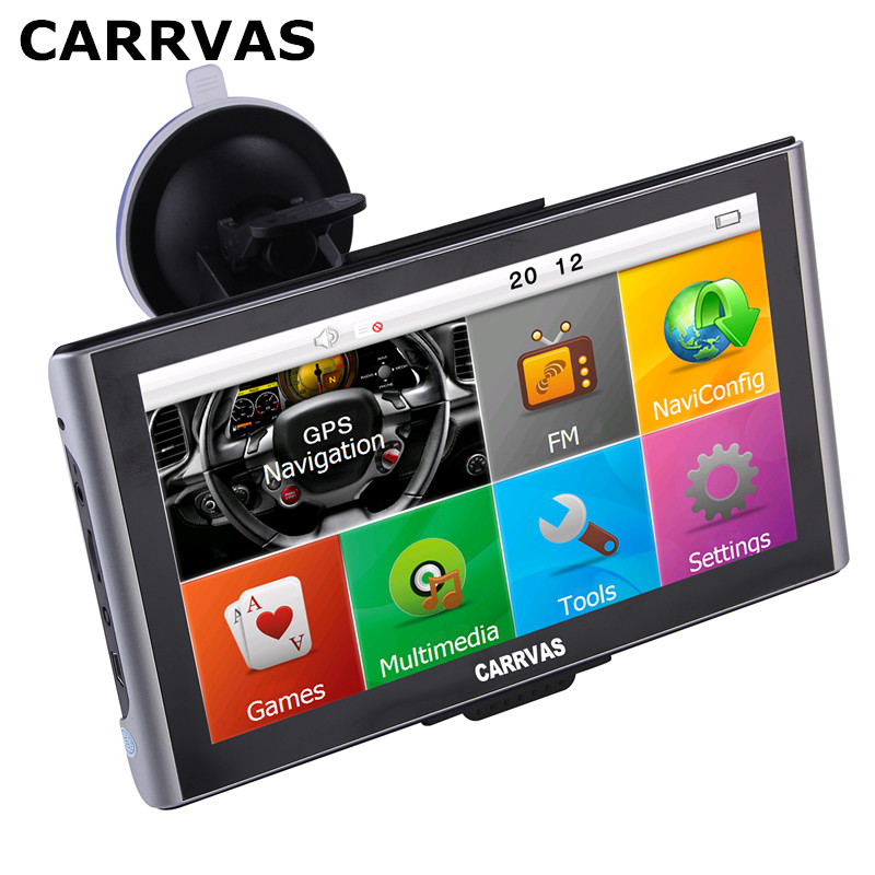 CARRVAS 7 inch Capacitive Screen Car TRUCK GPS Navigator 800MHZ FM 8GB DDR 256M Maps Russia