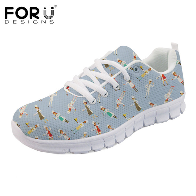FORUDESIGNS Casual Chef Postwoman Print Women Flats Shoes Female  Comfortable Lightweight Mesh Sneakers Ladies Lace-up Flat Shoes 58b499abe
