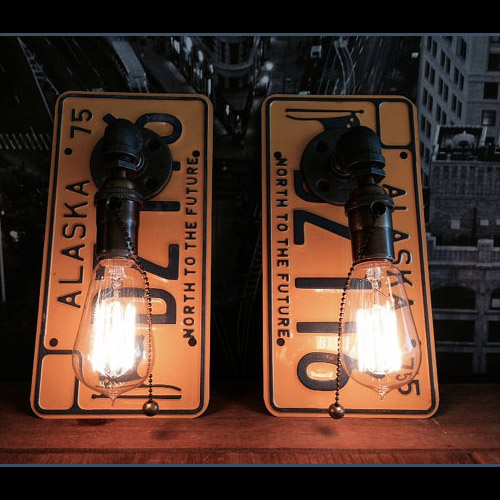 Retro Creative license plate wall lamp Creative Home Furnishing Wall Sconce Modern Glass Light Fixture lamps цена