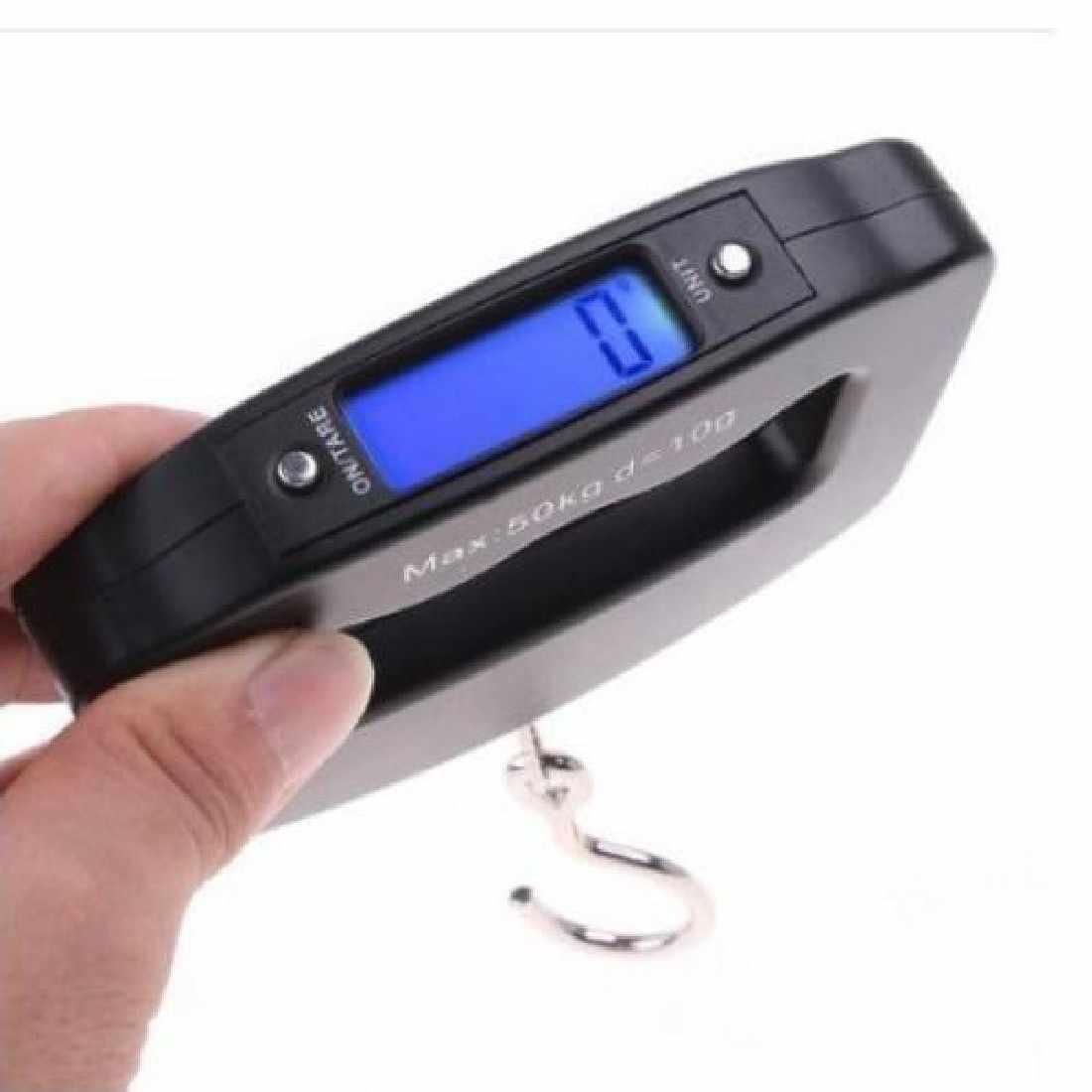 Mini Hand Held Plastic 50 kg/10g LCD Digital Pesca Gancho de Suspensão Balança Eletrônica Balança de Bolso Escala de Peso Da Bagagem