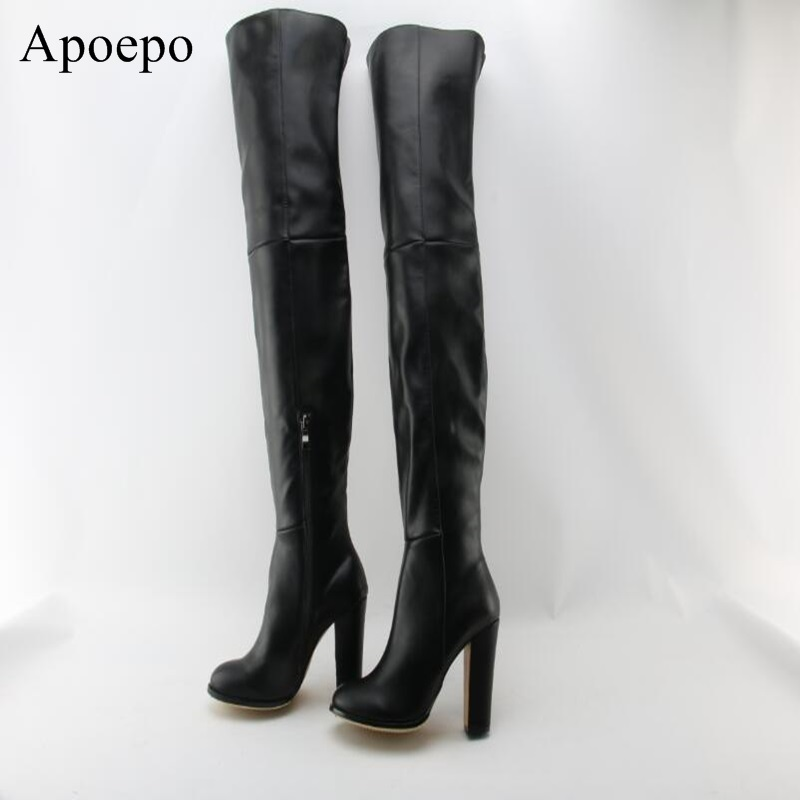 Fashion Women Square heel Boots Stretch Leather Over The Knee High Sexy Ladies Party Black High Heels Shoes Woman
