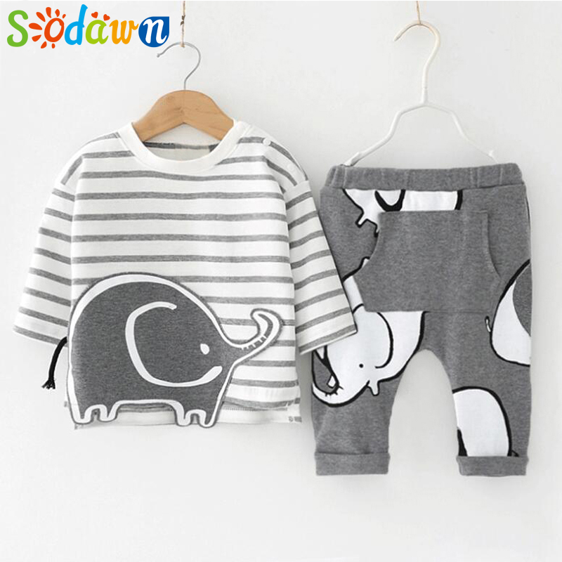 Sodawn Autumn Newborn Cotton Suit Fashion Children Clothes Cartoon Stripe Design +Trousers 2PCS Baby Boy Clothing Kids Clothing