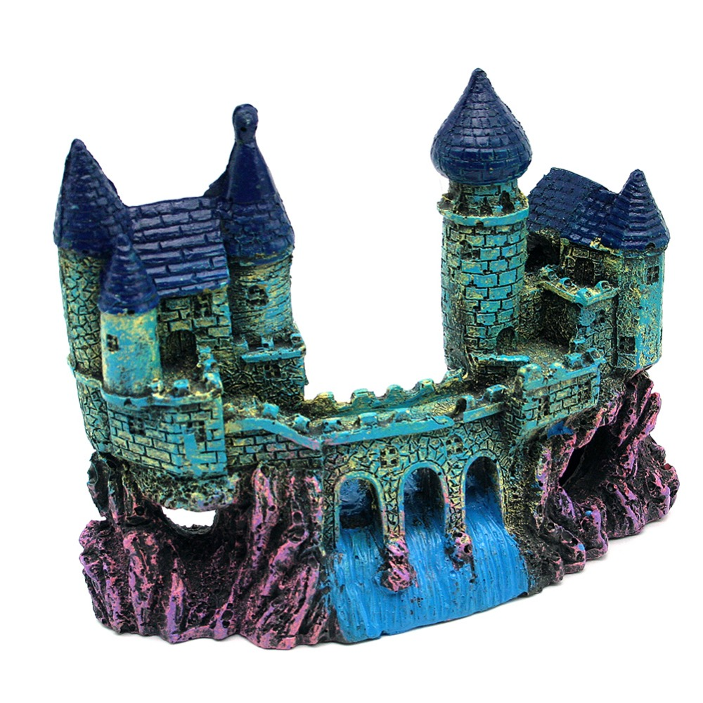 Fish tank aquarium castle hill - Free Shipping Artificial Mountain Castle Bridge Landscape Decorative Crafts Blue Color Aquarium Fish Tank Ornament