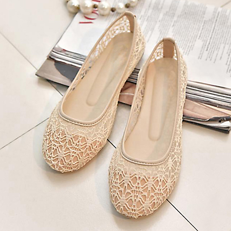 Fashion Female Ballet Flats Women Spring Casual Flat Shoes Women Sweet Bow Tie Hollow Summer Ladies Shoes Casual Shoes Plus Size