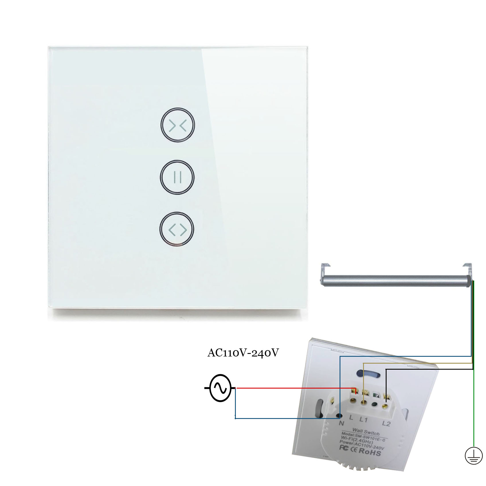 EU type Curtain Wall Switch For Standard Roller Motor with 4 Wires Work with Google Home Alexa Wifi Support APP Control