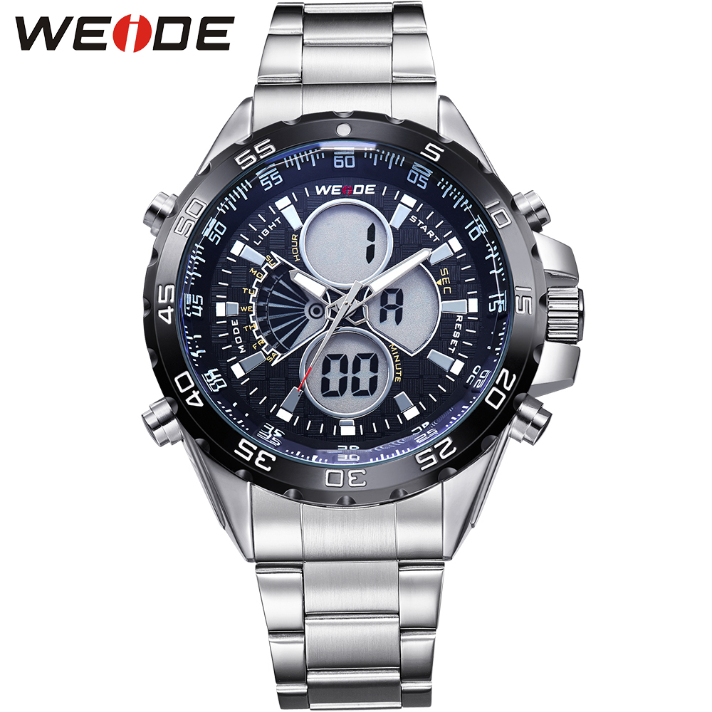 ФОТО WEIDE  Mens Analog Digital Watches Stainless Steel Band 3ATM Waterproof Alarm Stopwatch Multi Functional Casual Men Watch