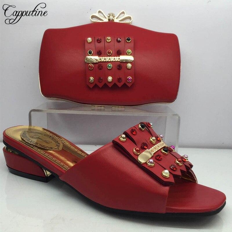 Capputine nouveauté nigéria Style chaussures et sac ensemble été PU cuir femme chaussures à talons bas et sac pour les fêtes BL985C