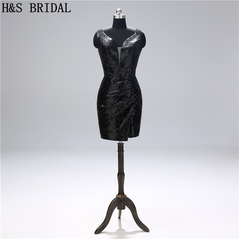 H&S BRIDAL Black   Cocktail     Dresses   Sequin sexy Short Prom   Dresses   robe   cocktail   graduation party   dress