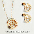 Rose Gold Plated Brand Design Rhinestones Micro Setting H Letter Style Lady Jewelry Set Necklace/Earrings