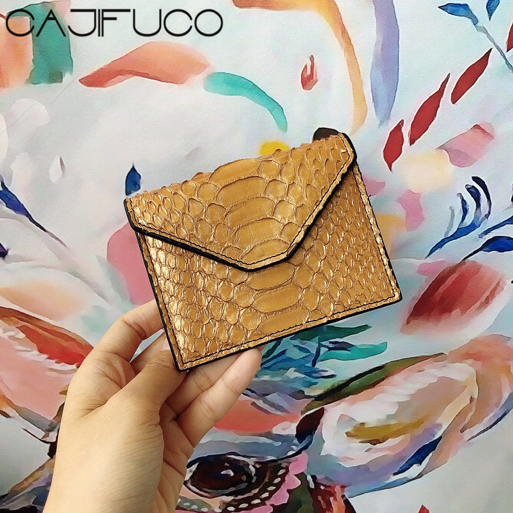 CAJIFUCO Real Python Skin Credit Card Holder Genuine Leather Hasp Coin Purses Money PocketCAJIFUCO Real Python Skin Credit Card Holder Genuine Leather Hasp Coin Purses Money Pocket