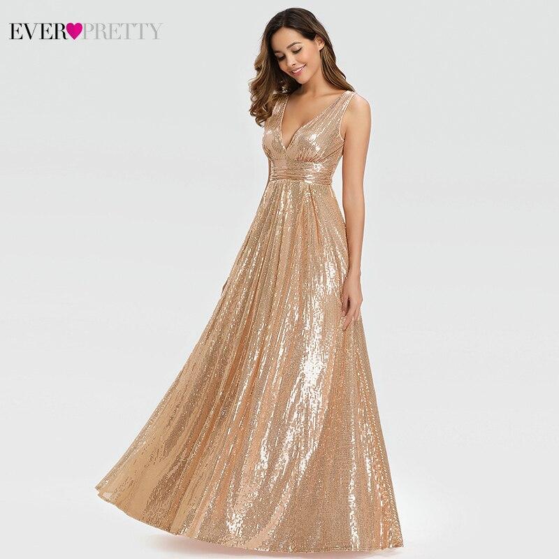 Robes de bal Sexy en or Rose longues jamais jolies a-ligne Double col en v paillettes élégantes robes de soirée Gala Jurken Dames 2019 - 4