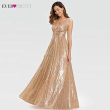 Sexy Rose Gold Prom Dresses Lange Ever Pretty A lijn Dubbele V hals Lovertjes Elegant Avond Partij Jassen Gala Jurken Dames 2020