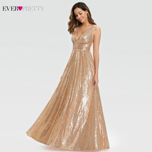 סקסי עלה זהב שמלות נשף ארוך פעם די אונליין כפול V צוואר נצנצים אלגנטי ערב מסיבת שמלות גאלה Jurken גבירות 2020