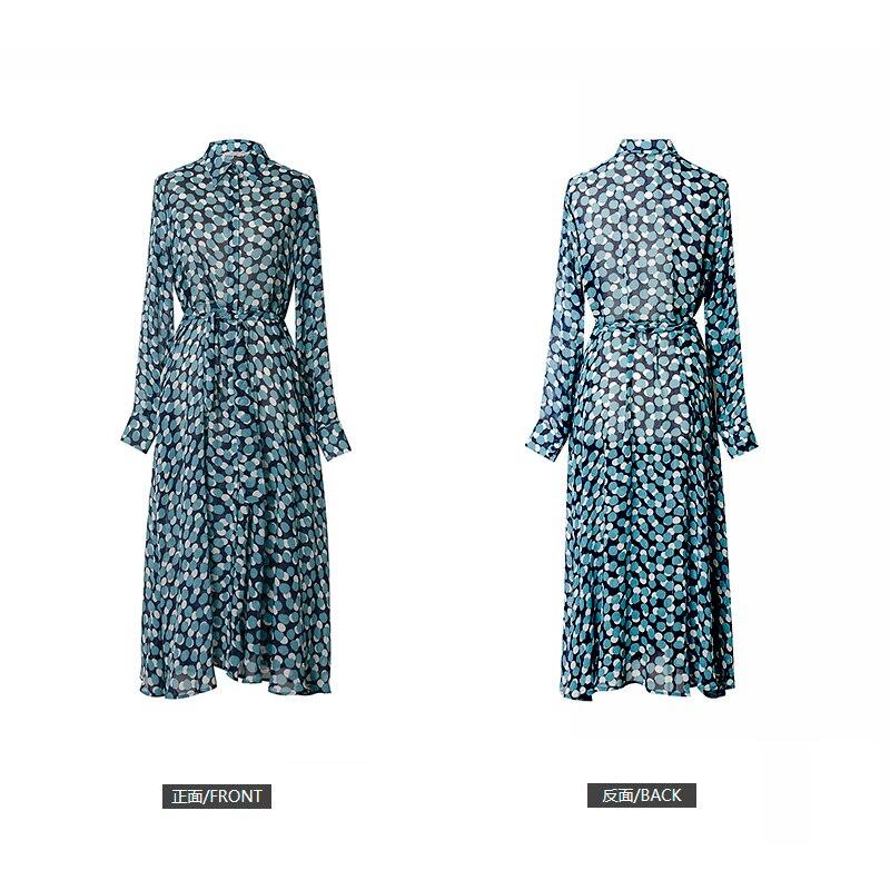 Nouvelle Soie De Mince Et Longues TaillePoint Vague Mûrier Robe En Manches Femmes Bleu Cravate La Longue À Qualité Avec 1lcKJF