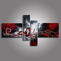 Olieverfschilderijen op doek rood zwart wit home decoratie Moderne abstracte Olieverf muur XD4-019