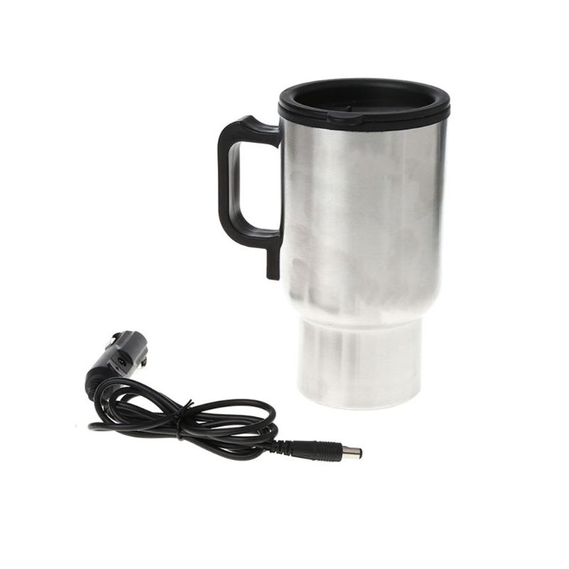 12V Car Heating Cup Stainless Steel Travel Electric Kettle Insulated Heated Thermos Mug