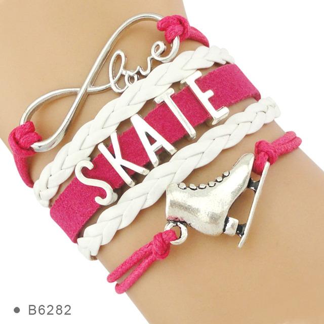 Alta calidad vive tu sueño infinito amor a patinar zapatos de patinaje artístico regalos de Amistad pulseras para mujer