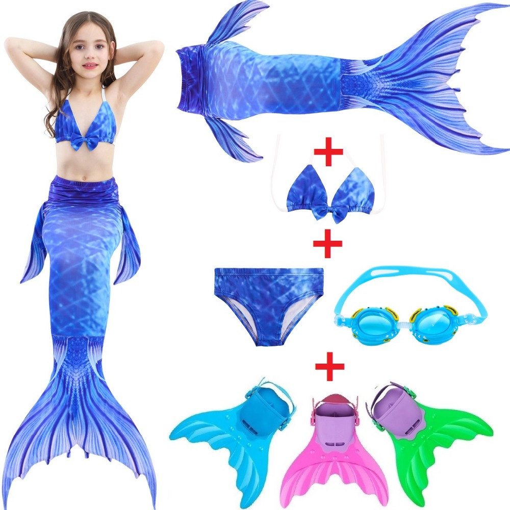 Girls Mermaid Tail For Swimming Cosplay Swimsuit With Monofin Flipper Kid's Sparkle Mermaid Tails Swimmable Costume Swimwear Set