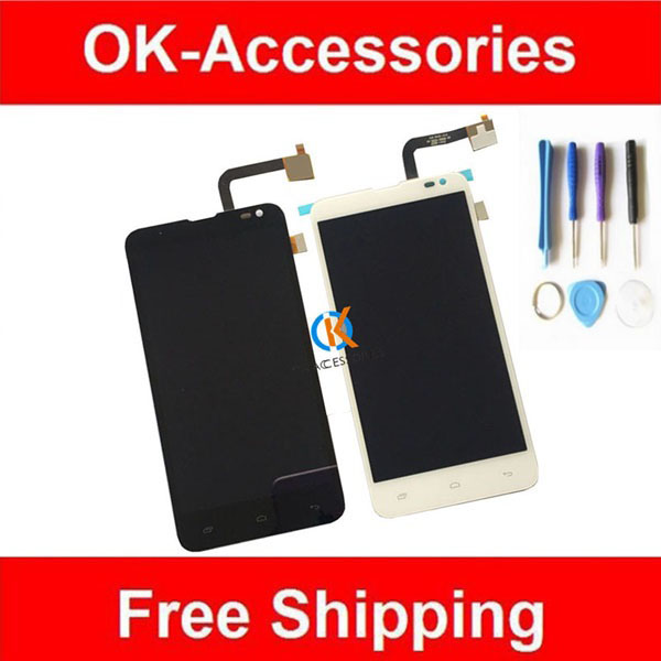 Black White Color For Fly EVO Tech 4 IQ4514 LCD display + Touch Screen Digitizer New Replacement With Tools 1PC/Lot