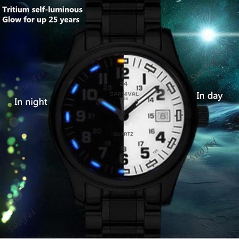 Tritium light brand watch men military dive waterproof 200M quartz luminous full steel luxury brand leather strap watches clocks