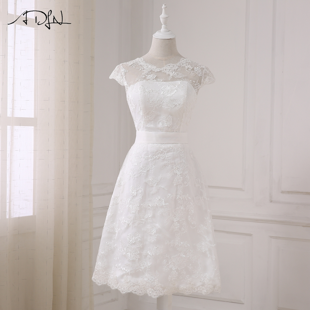 Elegant Lace A-line White Short Wedding Dress