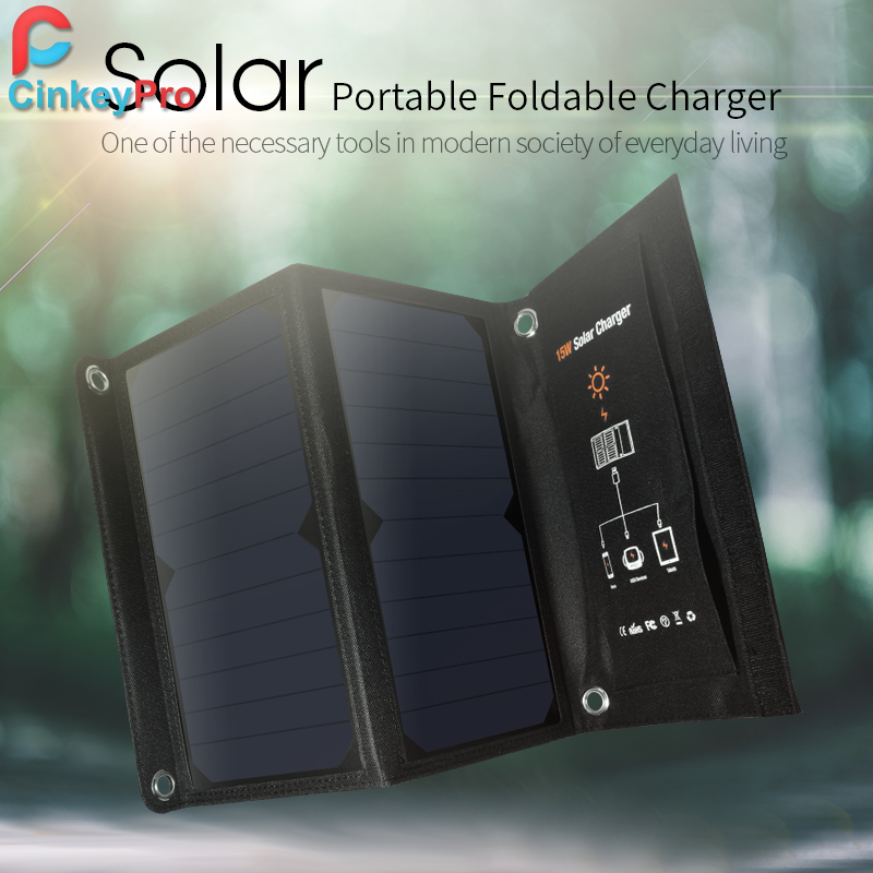 CinkeyPro Solar Charger 15W 2-Ports USB Charging 5V/2.1A Max for Samsung iPhone Mobile Phone Universal Portable & Foldable