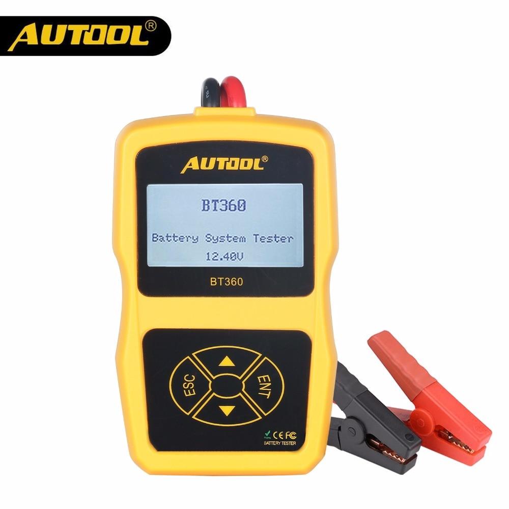 AUTOOL BT360 12V Car Battery Tester Digital Automotive Diagnostic Test Analyzer Vehicle Batteries Cranking Charging Scanner Tool