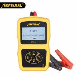 Autool bt360 12 v testador de bateria carro digital automotivo teste diagnóstico analisador veículo baterias cranking ferramenta de carregamento scanner
