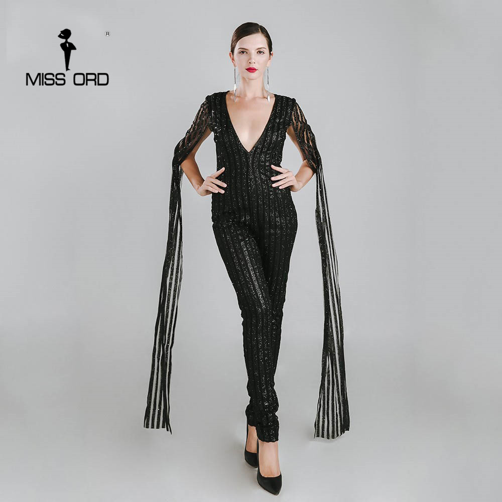Missord 2018 Sexy Deep-V cut out long sleeve black color glitter jumpsuit FT4682-2
