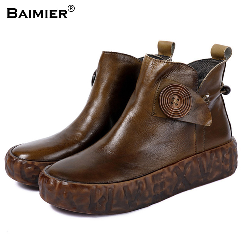 2018 New Hot Style Fashion Women Boots Round Toe Flats Platform Genuine Leather Shoes Zipper Closed Woman Martin Boots Shoes цена