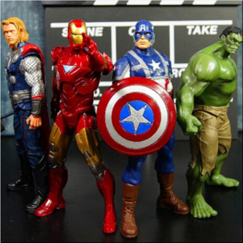 4PCS/set 20cm Avengers Super Heroes Captain America Thor Hulk Iron Man PVC Action Figure Model toys Christmas Gift Toy FC04 new hot 27cm avengers super hero captain america enhanced version action figure toys doll collection christmas toy with box