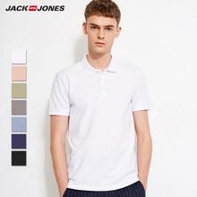 JackJones Men's Cotton Slim Fit Smart Casual Business Top Basic POLO Shirt Men's Short Sleeve Top New Brand Fashion 218106516