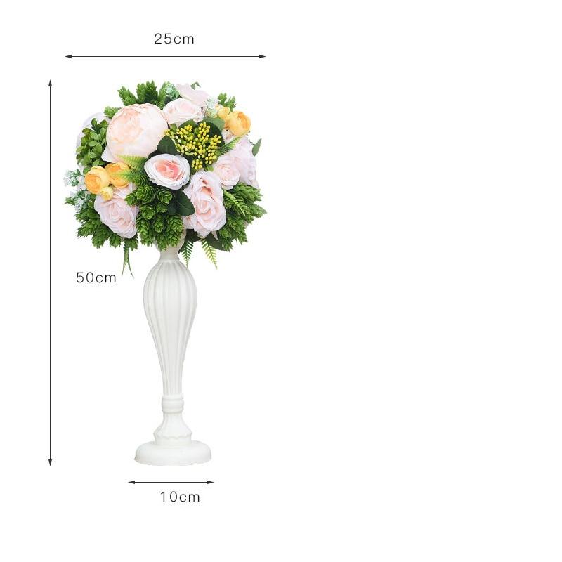 Flone casamento mesa de madeira peça central flores adereços com vaso estrada chumbo flor bola decoração artificial flor hotel christma - 6
